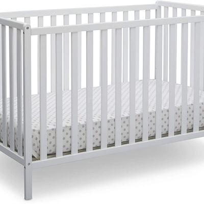 New Delta Children Heartland 4-in-1 Convertible Baby Crib, Bianca White