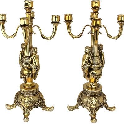 NEW Design Toscano Grande Chateau Beaumont Candelabra Candle Holders, 51 cm, Set of Two, Polyresin, Gold