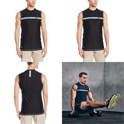 New Speedo Men Startline Sleeveless Uv Protection Rashguard Swim Shirt Black Large