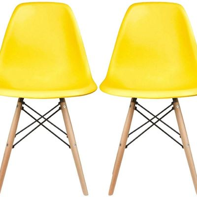 New 2xhome Set of 2 Yellow Mid Century Modern Contemporary Vintage Molded Shell Designer Side Plastic Eiffel Chairs Wood Legs for Dining Room Living