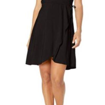 New Star Vixen Womens Petite Short Sleeve Ballerina Wrap Dress
