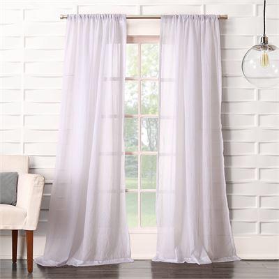 "New No. 918 Tayla Crushed Texture Semi-Sheer Rod Pocket Curtain Panel, 50"" x 108"", White"