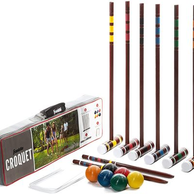 New Franklin Sports Croquet Set - Includes Croquet Wood Mallets, All Weather Balls, Wood Stakes and Metal Wickets - Classic Family Outdoor Game