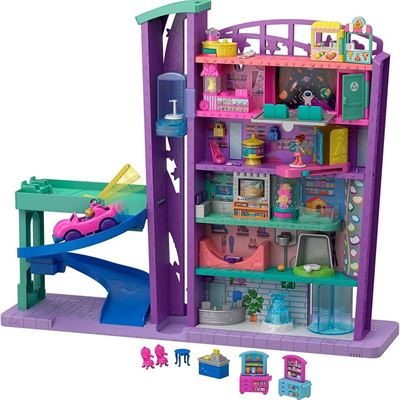 NEW Polly Pocket Mega Mall Pack: 6-floor Mall with Elevator, Vehicle, Parking Garage, 3 Micro Dolls, Play Pieces & Ice Cream Truck/Parlor; Ages 4 & Up