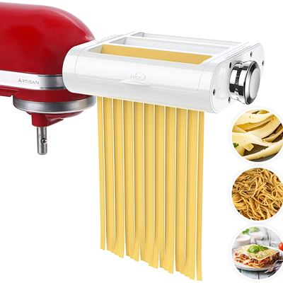 New ANTREE Pasta Maker Attachment 3 in 1 Set for KitchenAid Stand Mixers Included Pasta Sheet Roller, Spaghetti Cutter, Fettuccine Cutter