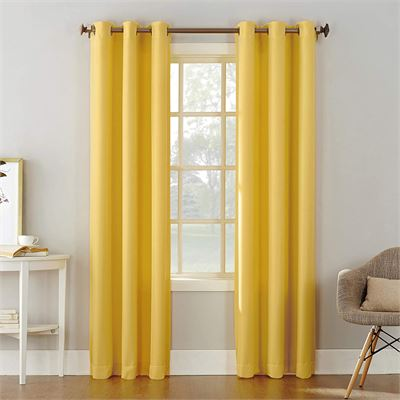 """New No. 918 Montego Casual Textured Grommet Curtain Panel, Yellow, 48"""" x 84"""", Single Panel"""