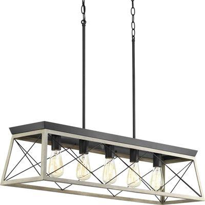 New Progress Lighting P400048-143 Briarwood Five-Light Linear Chandelier, Graphite