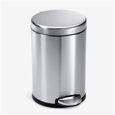 New simplehuman 4.5 Liter / 1.2 Gallon Round Bathroom Step Trash Can, Brushed Stainless Steel