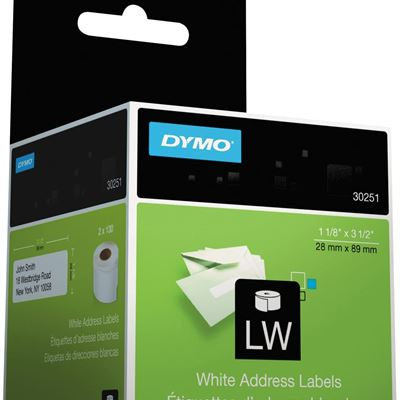 New DYMO LabelWriter Address Labels 1 1/8 x 3 1/2 White 130 Labels/Roll 2 Rolls/Pack DYM30251