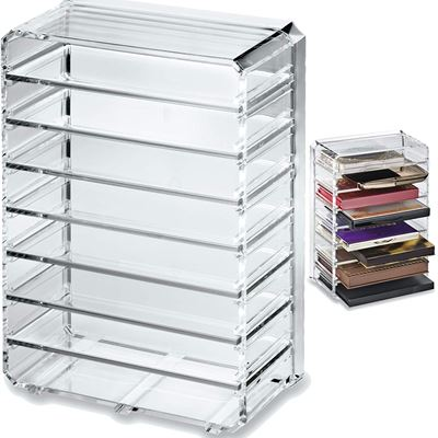 New byAlegory Acrylic Eyeshadow Makeup Palette Organizer (Small Sized Palettes) | 8 Space Cosmetic Storage (CLEAR)