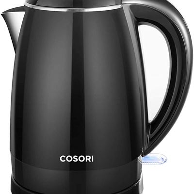 New COSORI Electric Kettle, 1.8 Qt Double Wall 304 Stainless Steel BPA Free Hot Water Boiler Auto Shut-Off and Boil-Dry Protection, Cordless