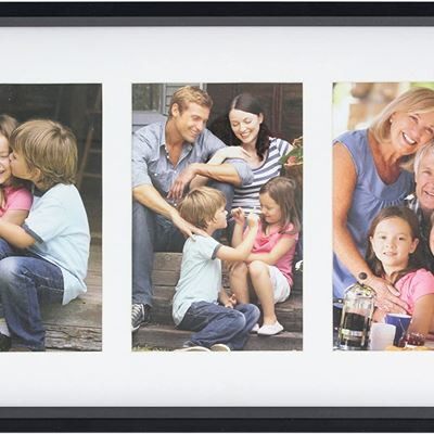 New Stonebriar Decorative Black Collage Frame with 3 Openings for 4x6 Photos, Unique Picture Frame for Family, Baby, or Wedding Photos
