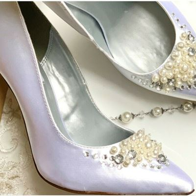 New Lennon white Shoes size 9 I Do Crystals and Pearls satin vegan