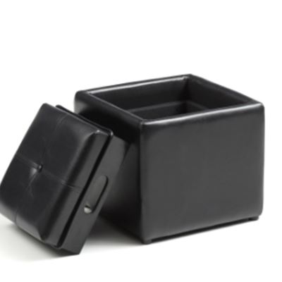 New Faux Leather, Single Storage Black Ottoman with 1-Flip over Serving Tray