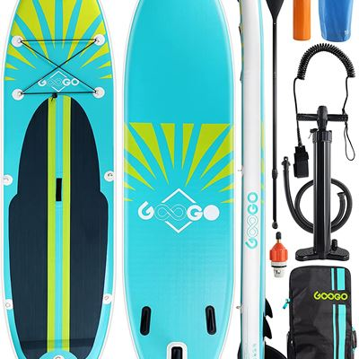 """Used Inflatable Paddle Board, Googo 10'6""""/11'0""""x32""""x6"""" Light (18.5lbs) Stand up Paddleboard with Anti Air Leaking Design, Non-Slip Deck"""