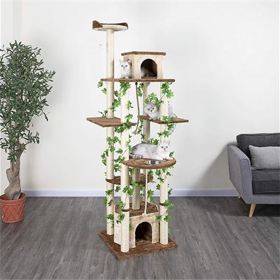 NEW Go Pet Club 85-Inch Cat Tree Condo Scratching Post Furniture, Beige/Brown