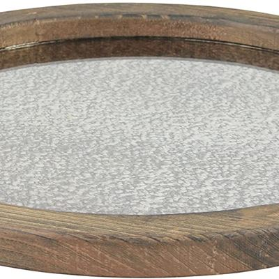 New Stonebriar Round Natural Wood Serving Tray with Antique Mirror, Rustic Butler Tray, Unique Coffee Centerpiece