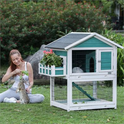 New Petsfit Rabbit Hutch, Two-Story Wood Bunny Cage Indoor Outdoor with 2 Pull-Out Trays, 3 Doors & Roof Open