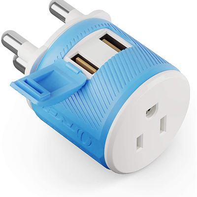 New Orei U2U-10L Travel Plug Adapter for South Africa, Botswana, Namibia Double USB Type M Surge Protector