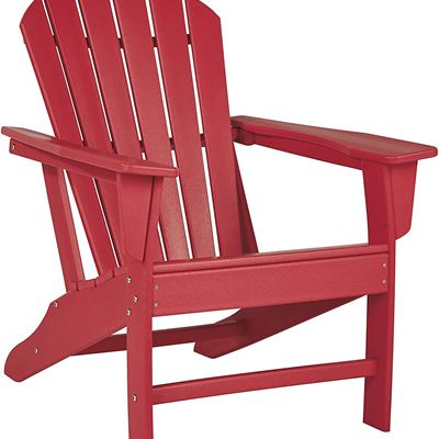 New Signature Design by Ashley - Sundown Treasure Outdoor Adirondack Chair - Hard Plastic - Red
