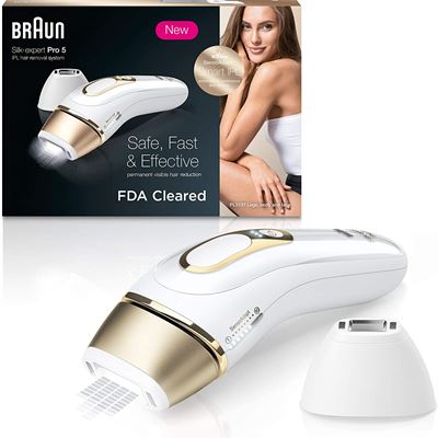 New Braun Silkexpert Pro 5 Pl5137 Latest Generation Ipl, Permanent Hair Removal, White & Gold, 1 Count