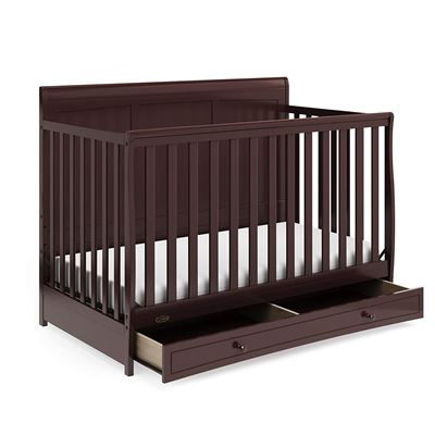 New Graco Asheville 4-in-1 Convertible Crib with Drawer Full-Size Storage Drawer Crib Easily Converts to Daybed Toddler Bed, Full-Size Bed Espresso