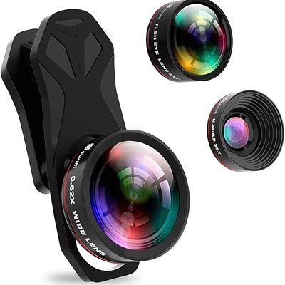 New Selvim Phone Camera Lens Kit 3 in 1, 235? Fisheye Lens, 0.62X Wide Angle Lens & 25X Macro Lens, Compatible with iPhone