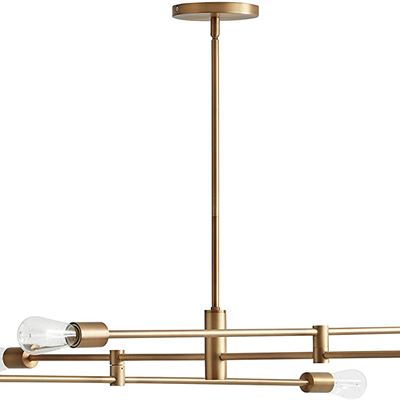 New Rivet Mid-Century Modern Metal Rod Ceiling Pendant Light Chandelier - 63 x 42.5 x 50 Inches, Brass