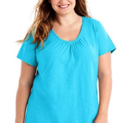 New Just My Size Women's Short Sleeve Shirred V-Neck Tee